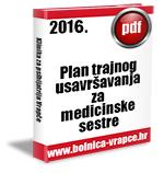 Plan trajnog usavršavanja za medicinske sestre za 2016. godinu.