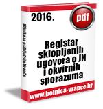 Registar sklopljenih ugovora o JN i okvirnih sporazuma u 2016.g.